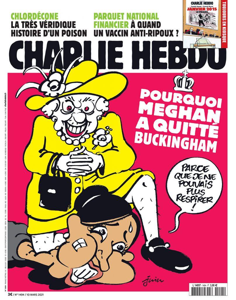 Kráľovná kľačí na krku Meghan. Charlie Hebdo pasoval obvinenia z rasizmu do roly Floyda a policajta